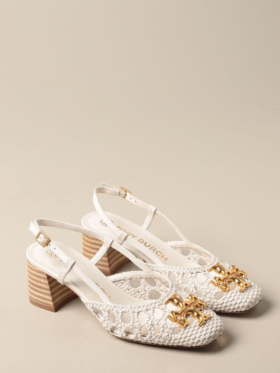 Pumps Tory Burch: Tory Burch slingback in woven leather with logo ivory 2