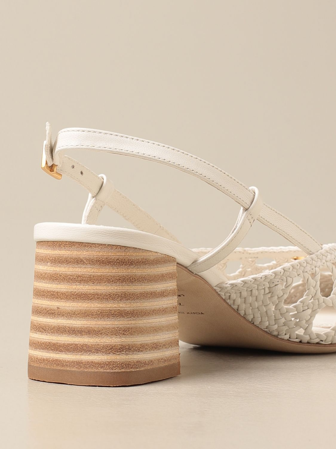 Pumps Tory Burch: Tory Burch slingback in woven leather with logo ivory 3