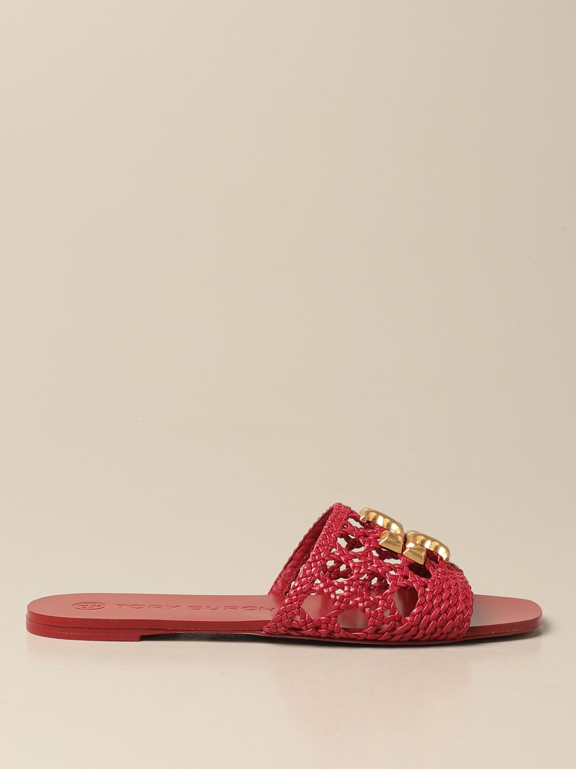 Flat sandals Tory Burch: Tory Burch sandals in woven leather with logo red 1