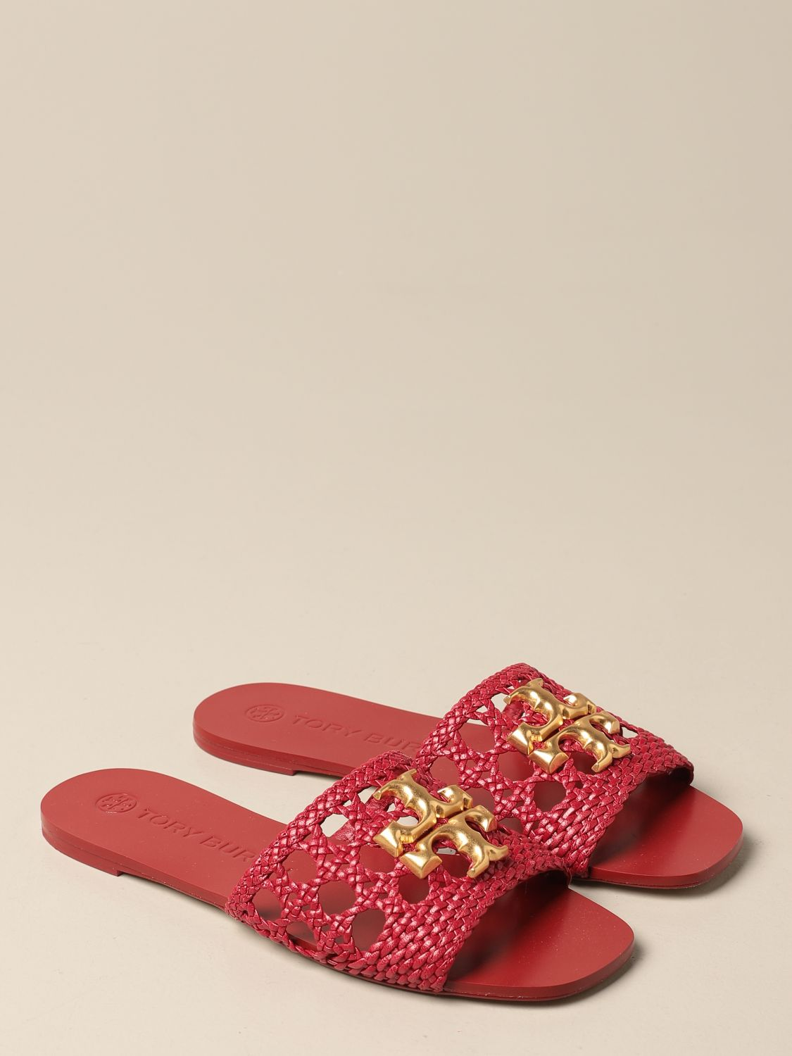 Flat sandals Tory Burch: Tory Burch sandals in woven leather with logo red 2