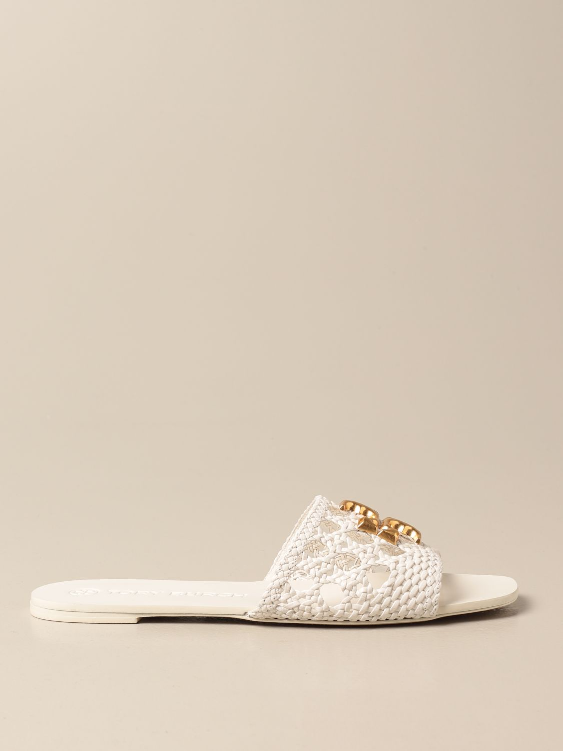 Flat sandals Tory Burch: Tory Burch sandals in woven leather with logo ivory 1