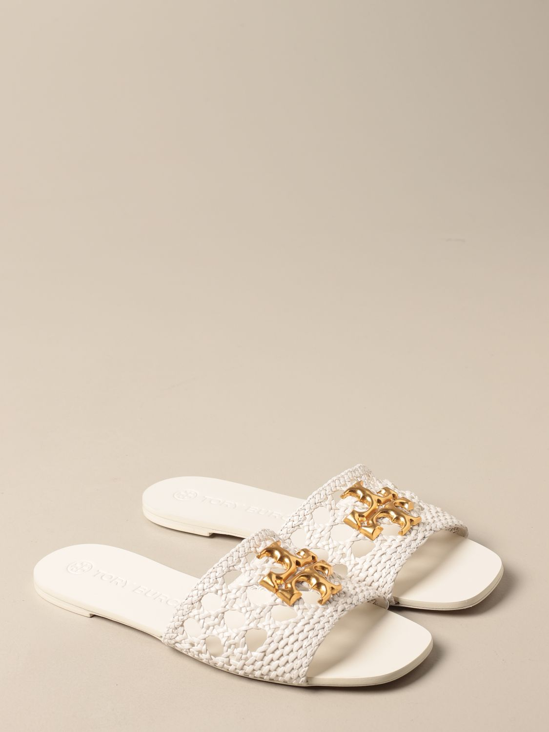 Flat sandals Tory Burch: Tory Burch sandals in woven leather with logo ivory 2