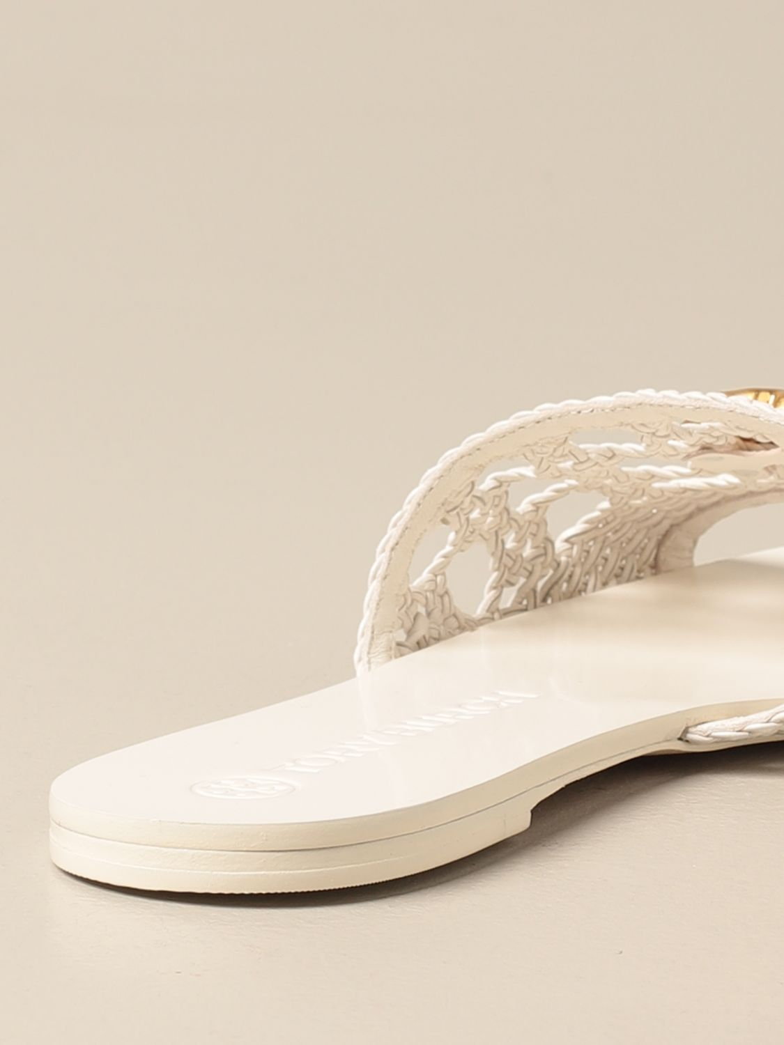 Flat sandals Tory Burch: Tory Burch sandals in woven leather with logo ivory 3