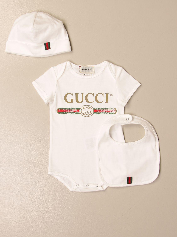 Pack Gucci: Gucci body + bib + beanie set with vintage logo white 1