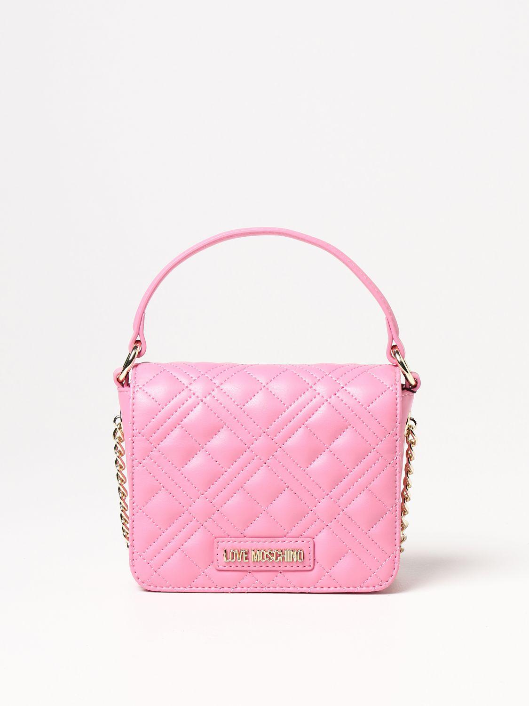 Borsa a mano Love Moschino: Borsa Love Moschino in pelle sintetica trapuntata con logo rosa 1