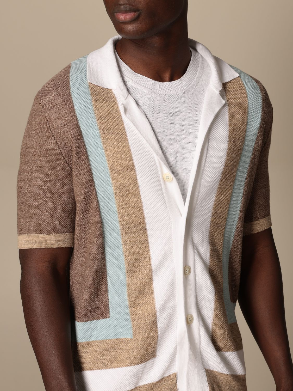 Shirt Altea: Altea color block cotton cardigan white 4