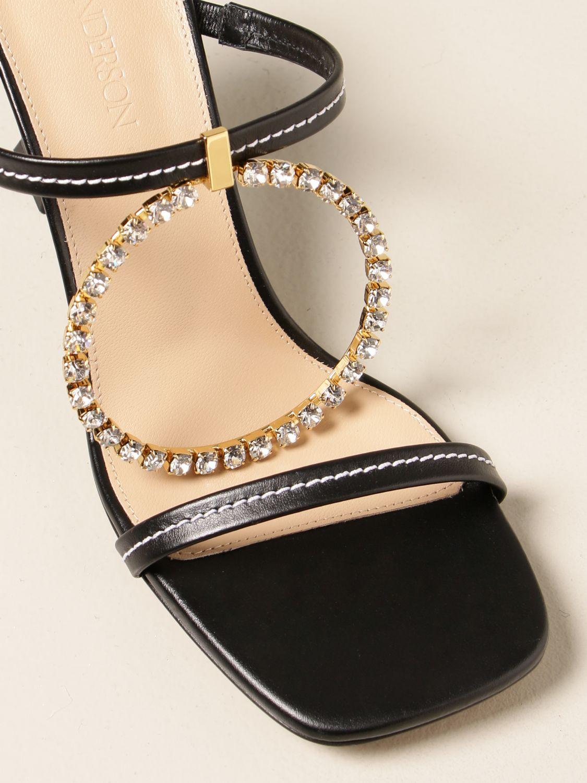 Scarpe con tacco Jw Anderson: Mule Jw Anderson in pelle cerchio di cristalli nero 4
