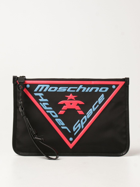 Portadocumenti Moschino Couture: Pochette Moschino Couture in tela con logo nero 1