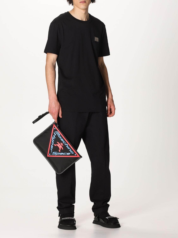 Portadocumenti Moschino Couture: Pochette Moschino Couture in tela con logo nero 2