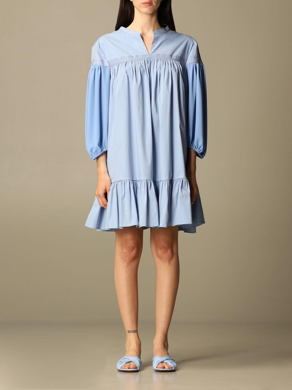 Kleid Semicouture: Kleid damen Semicouture hellblau 1