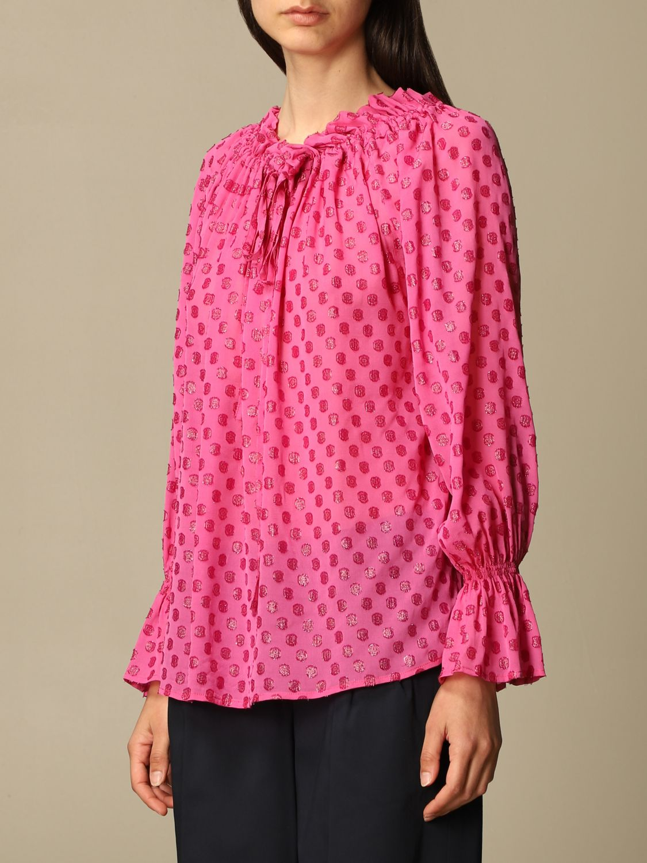 Top L'autre Chose: Hemdbluse damen L'autre Chose pink 4
