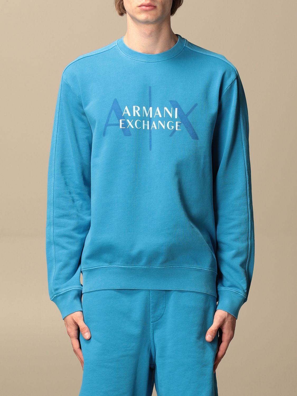 Felpa Armani Exchange: Felpa a girocollo Armani Exchange con logo blue 1
