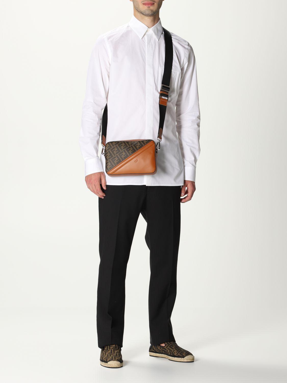 Shoulder bag Fendi: Fendi leather bag with FF logo brown 2