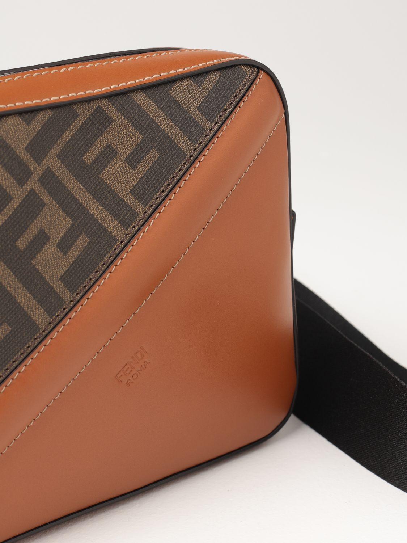 Shoulder bag Fendi: Fendi leather bag with FF logo brown 4