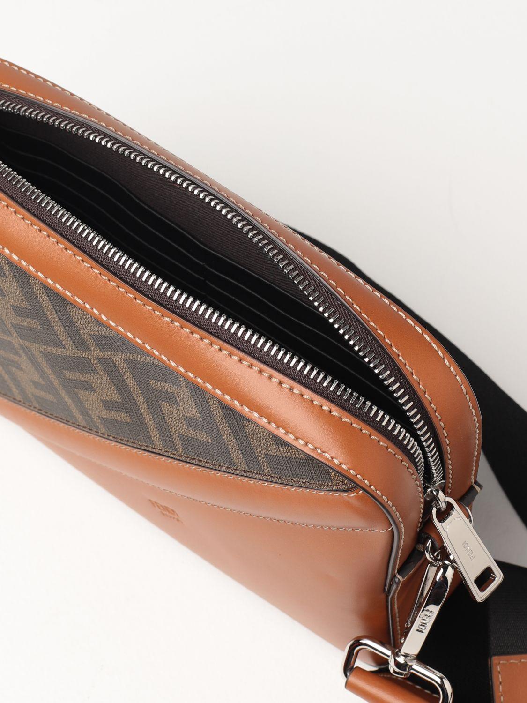 Shoulder bag Fendi: Fendi leather bag with FF logo brown 5