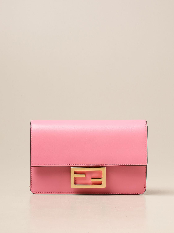 Crossbody bags Fendi: Baguette bag Fendi in leather pink 1