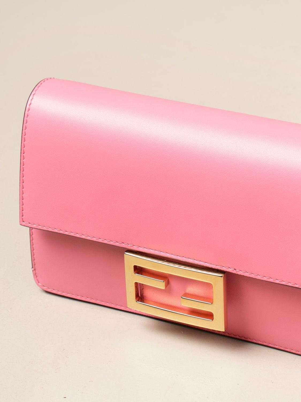 Crossbody bags Fendi: Baguette bag Fendi in leather pink 4
