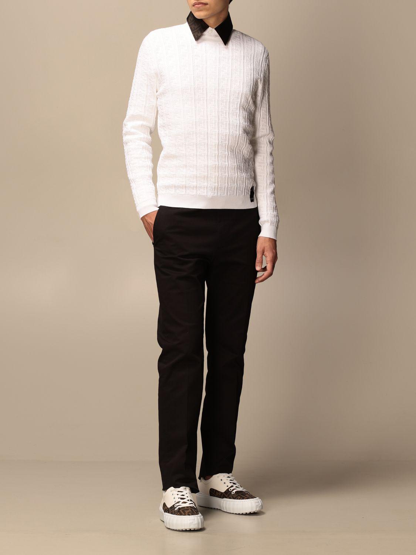Jumper Fendi: Fendi crewneck jumper with FF monogram white 2
