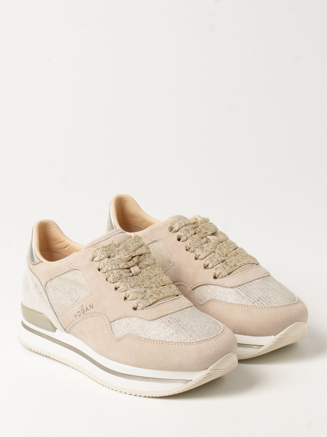 Hogan platform H222 sneakers in suede and lurex fabric