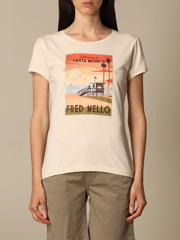 T-shirt Fred Mello: T-shirt Fred Mello in cotone con stampa bianco 1