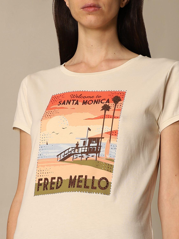 T-shirt Fred Mello: T-shirt Fred Mello in cotone con stampa bianco 3