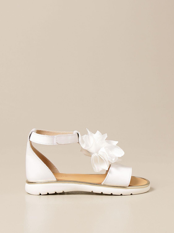 Shoes Babywalker: Babywalker sandal in leather with flower white 1