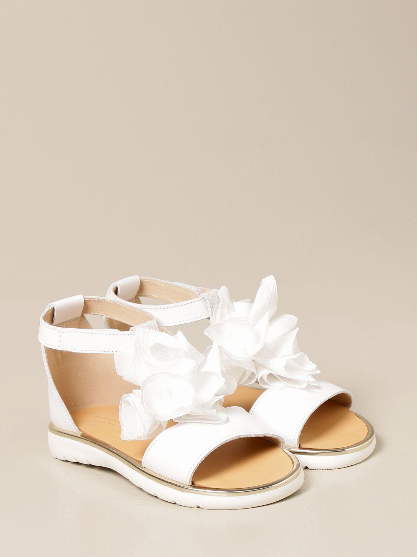 Shoes Babywalker: Babywalker sandal in leather with flower white 2