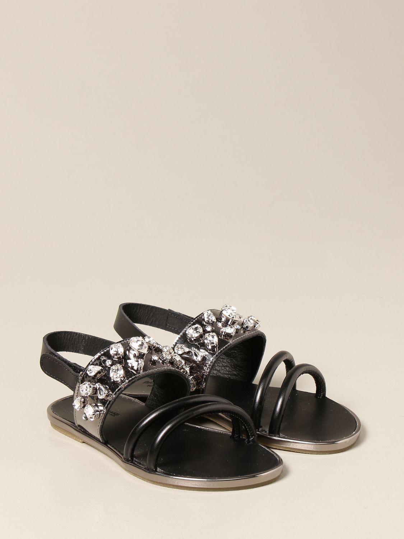 Scarpe Babywalker: Sandalo Babywalker con strass nero 2