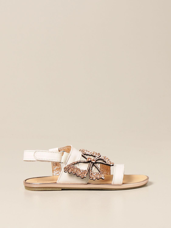 Scarpe Babywalker: Sandalo Babywalker in pelle con farfalla bianco 1