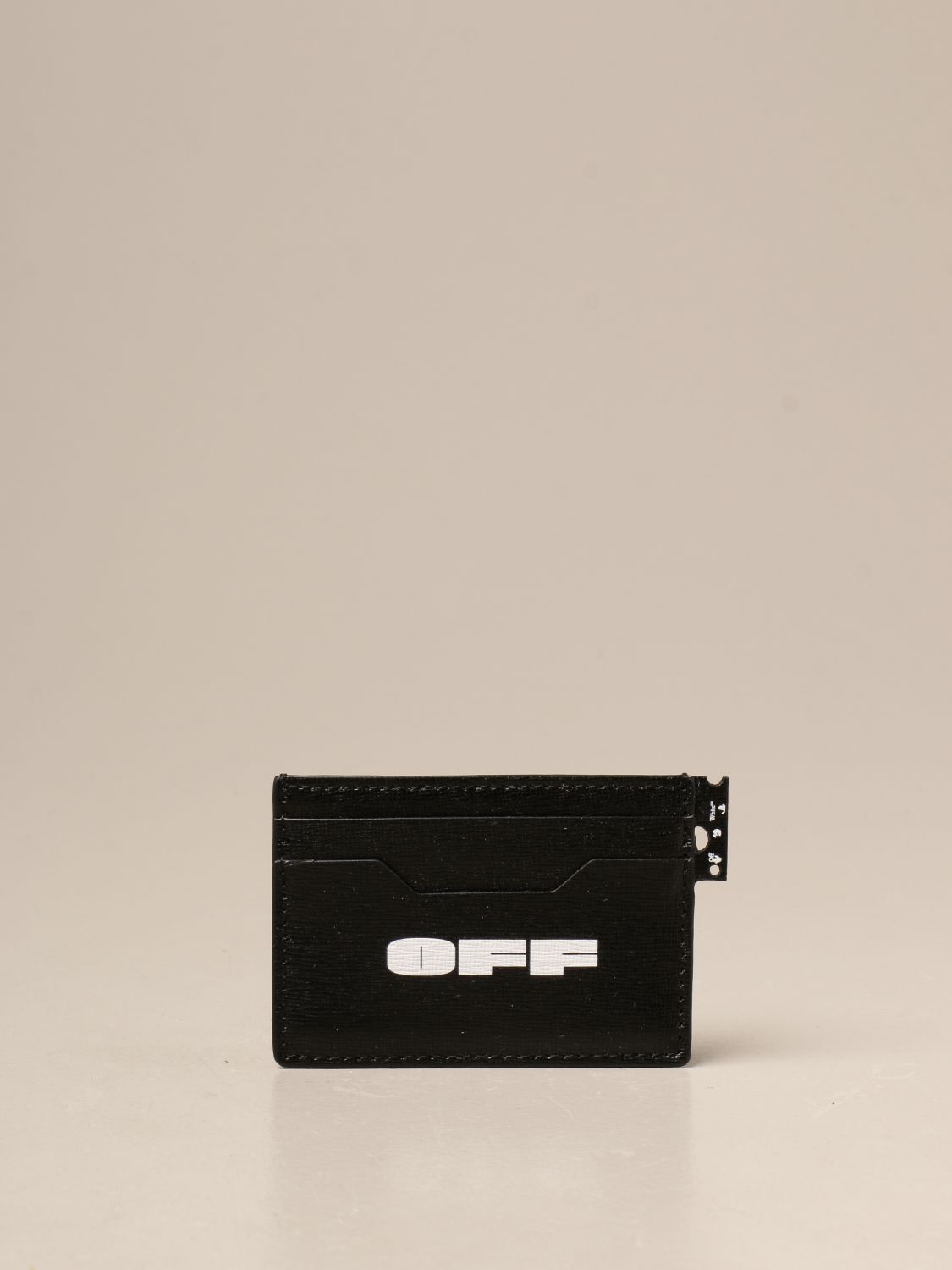 Wallet Off White: Off White credit card holder in saffiano leather black 1