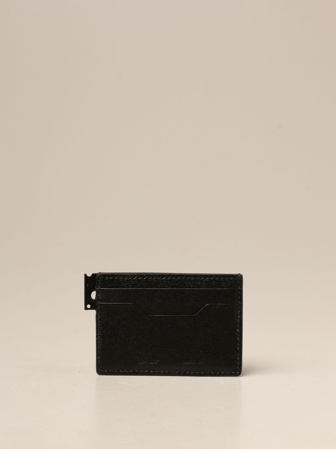 Wallet Off White: Off White credit card holder in saffiano leather black 2