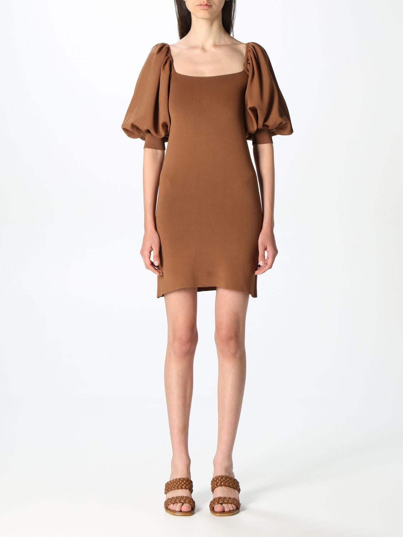 Kleid Semicouture: Kleid damen Semicouture braun 1