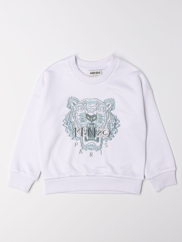 Jumper Kenzo Junior: Kenzo Junior crewneck sweatshirt with Tiger Kenzo Paris logo white 1