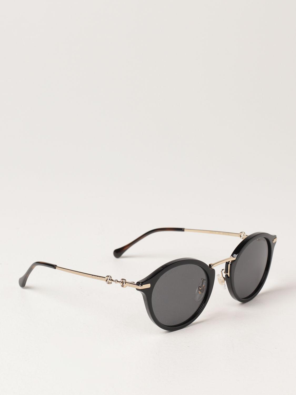 Occhiali Gucci: Occhiali da sole Gucci in metallo e acetato nero 1
