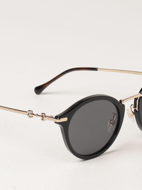 Occhiali Gucci: Occhiali da sole Gucci in metallo e acetato nero 4