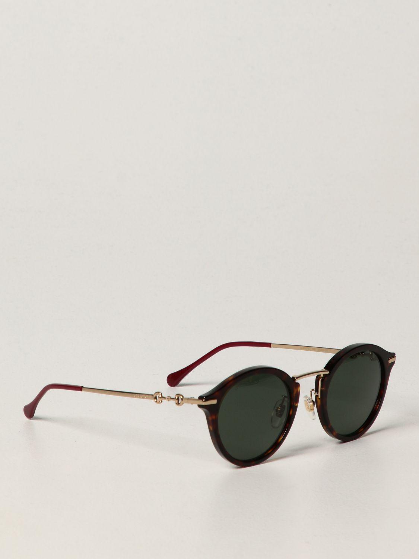 Occhiali Gucci: Occhiali da sole Gucci in metallo e acetato verde 1