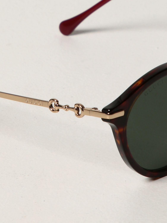Occhiali Gucci: Occhiali da sole Gucci in metallo e acetato verde 4