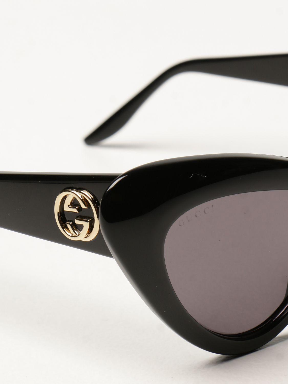 Occhiali Gucci: Occhiali da sole cat eye Gucci in acetato nero 4