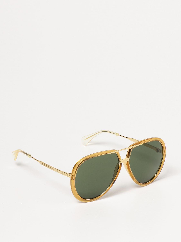 Occhiali Gucci: Occhiali da sole Gucci con doppio ponte giallo 1