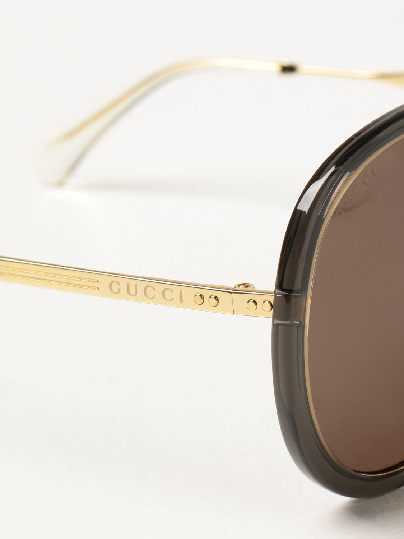 Occhiali Gucci: Occhiali da sole Gucci con doppio ponte grigio 4