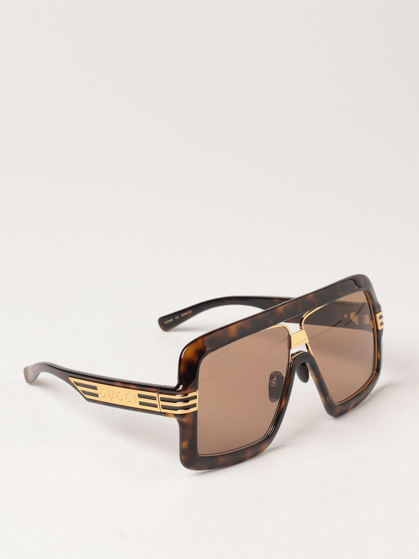 Occhiali Gucci: Occhiali da sole Gucci in acetato tartarugato marrone 1