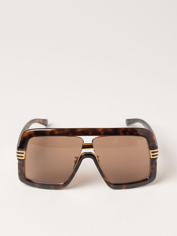 Occhiali Gucci: Occhiali da sole Gucci in acetato tartarugato marrone 2