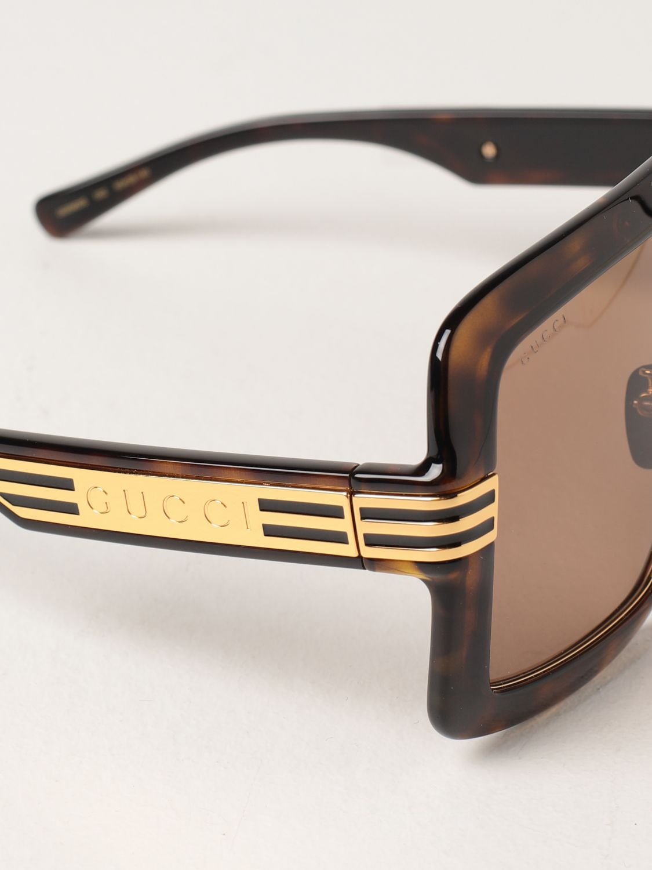 Occhiali Gucci: Occhiali da sole Gucci in acetato tartarugato marrone 4