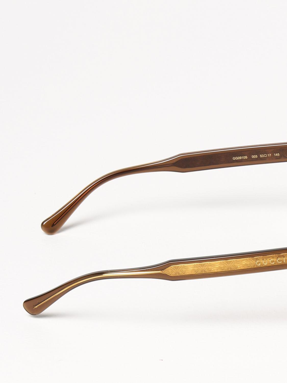 Occhiali Gucci: Occhiali da sole Gucci in acetato marrone 3