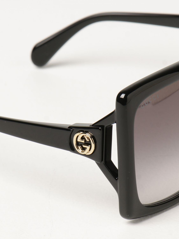 Occhiali Gucci: Occhiali da sole Gucci in acetato nero 4