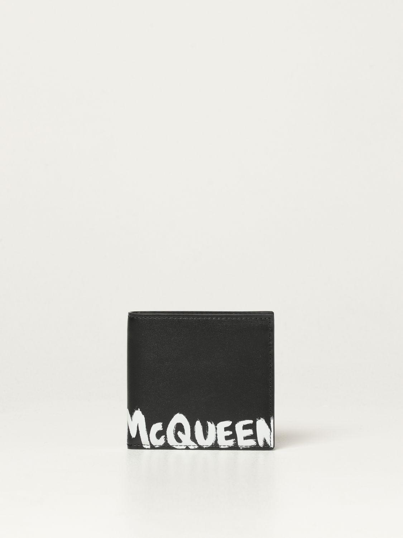 Portafoglio Alexander Mcqueen: Portafoglio Alexander McQueen in pelle con logo Graffiti nero 1