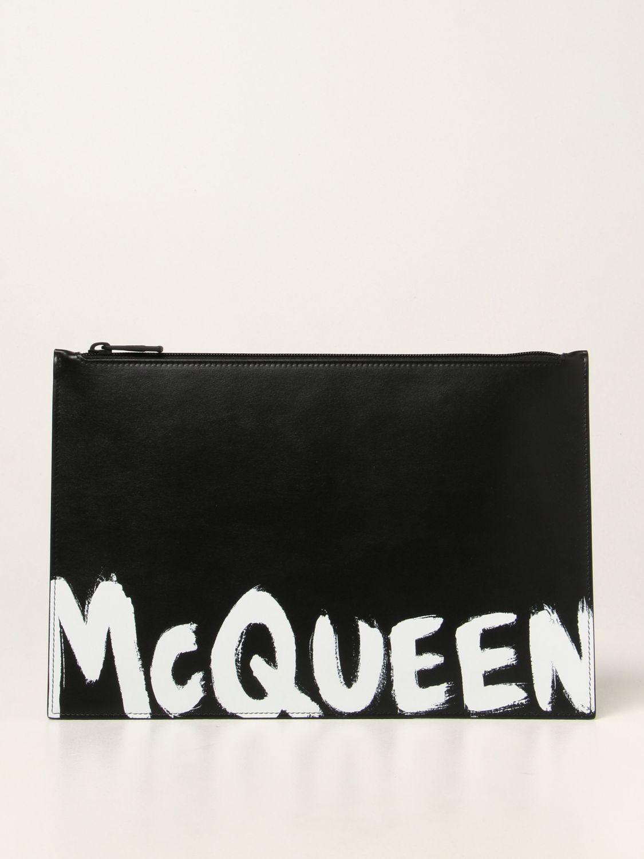 Portadocumenti Alexander Mcqueen: Pochette Alexander McQueen in pelle con logo Graffiti nero 1