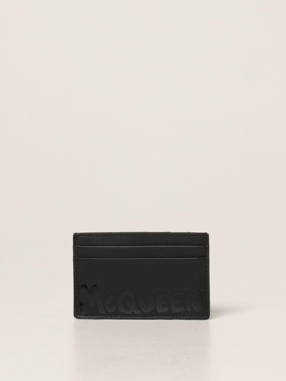 Portafoglio Alexander Mcqueen: Porta carte di credito Alexander McQueen in pelle nero 1