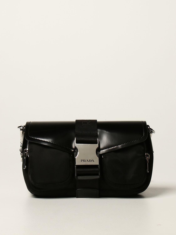 Borse a tracolla Prada: Borsa a tracolla Pocket Prada in pelle e nylon nero 1