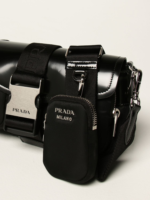 Borse a tracolla Prada: Borsa a tracolla Pocket Prada in pelle e nylon nero 3